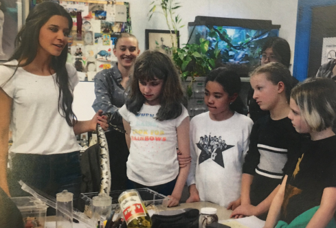 discussing evolution with AMNH Science and Nature Program Young Scientists